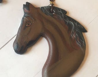 Ceramic Horse ornament - horse head ornament - morgan horse ornament - bay horse - horse lover gift - gift for her