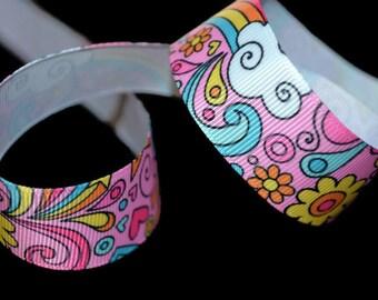Retro Ribbon, Rainbow Ribbon, Hippie Ribbon, Art Ribbon, Swirl Ribbon, Graffiti Ribbon, Funky Ribbon, Cartoon Ribbon, Hippy Ribbon