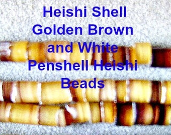 SHELL, BEADS, Heishi, PENSHELL,Golden Brown,White Sale, Cream, Beige, 24 inch, Disc, 3 x 2mm, Beach, Tribal, Ethnic,