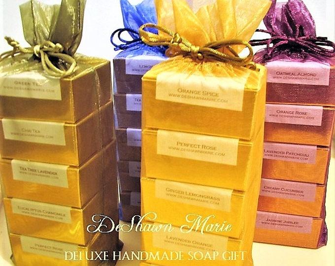 SOAP- Deluxe Handmade Soap Gift, 5 vegan soaps, soap gift, christmas gift