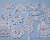 Mini Inspiration Kit, White Applique, Craft Embellishment, Journal, Scrapbook, Card, Tag, Sewing Basket, Decoration, Collage, Lace, Remnants