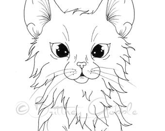 Long Hair Kitty Coloring Page
