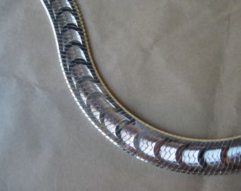 Sterling Wide Herringbone Chain Necklace Vintage Italy Milor Silver