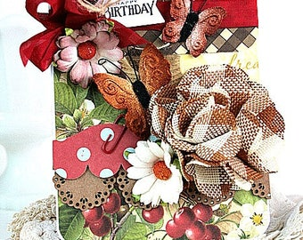 cottage chic card-FLOWERS and BUTTERFLIES-happy birthday greeting