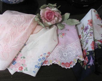 Set 4 Vingtage Hankies, Pink Shades, Instant Collection, Round Hanky, scalloped