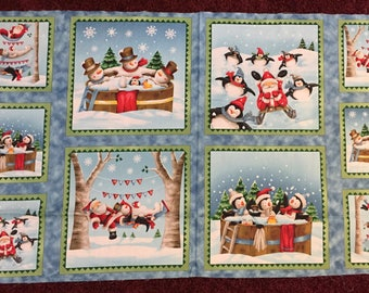 Just Chillin' Penguins, Santa, Snowman 100% cotton fabric by Panel aprox 24 x 44 - CHRISTMAS fabric panel