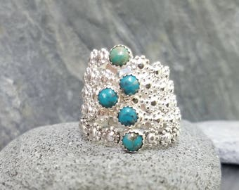Turquoise Daisy Chain Ring, Stacking Ring, Sterling Silver,  Dainty, Feminine, Gift for Her
