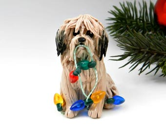 Lhasa Apso Gold Sable Christmas Ornament Figurine Porcelain Clay Lights