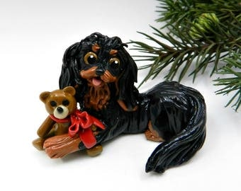 Cavalier King Charles Spaniel Black and Tan Christmas Ornament Porcelain