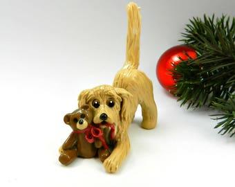 Golden Retriever Christmas Ornament Figurine Teddy Bear Porcelain
