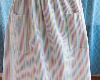 Candy Stripes - Vintage Preppy Skirt Seersucker Pockets