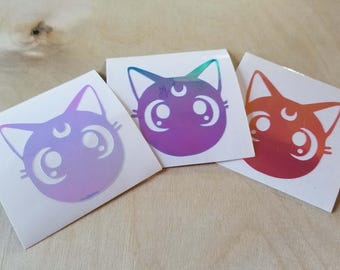 Anime Moon Kitty, Holographic Vinyl Decal Sticker, Laptop Sticker, Phone sticker, Car Decal, Window Decal