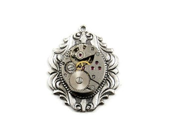 Steampunk Watch Movement Charm or Pendant with Neo Victorian Cameo Setting - Gruen Oval - Vintage 1900's with 17 Genuine Ruby Jewels