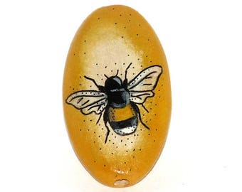 Wooden oval bead - Honey Bee, hand painted, 35x20mm