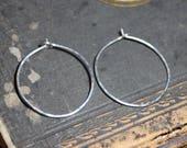 Argent sterling Hoop boucles d'oreilles petites et moyenne martelé cerceau Simple bijou rustique un pouce cerceaux texturé