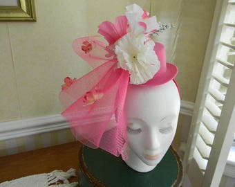 Pink Flowers and Top Hat Fascinator