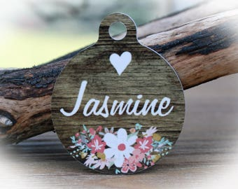 Girl Dog Name Tag | Dog tag for Dogs | Flower Pet Tag | Faux Wood Dog tag-Jasmine