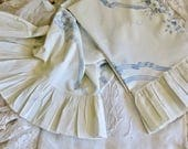 Vintage Shabby Chic Lovely.......Ruffled Edge Blue And White Floral Cotton Pillow Cases