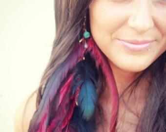 SUMMER SALE LISA - PInk Long Single Feather Earring
