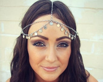 SUMMER SALE CHAIN Headpiece- head chain silver disc chain headdress/headpiece