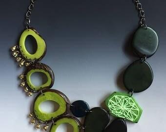 Green tagua nut bib necklace