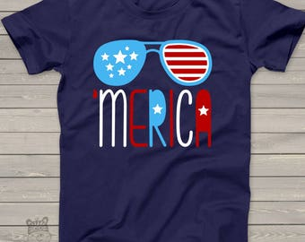 America shirt - summertime stars and strips - 'merica KIDS tshirt - perfect for July 4th festivities - SFJ-002v