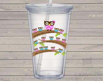 Teacher gift tumbler - school hoot owl teacher gift personalized double wall clear acrylic tumbler - BPA free MJT-012