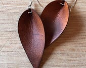 Leather Earrings, Joanna Gaines Inspired, Leather Leaf Earrings, Inspired By Joanna Gaines Earrings, You Choose Color