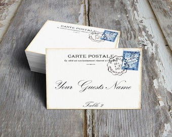 Wedding Place Cards Vintage Style French Postcard Table Place Cards, Escort Cards or Tags #109
