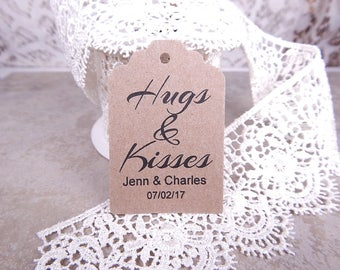 Hugs and Kisses Tags Bridal Shower Wedding Personalized Gift Tags