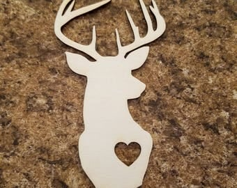 Maple Plywood Laser Cutout Deer Head Antler Animal Heart Love Unfinished