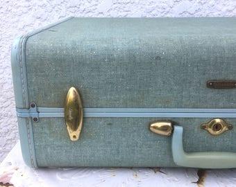 Vintage Large Turquoise Sparkle Samsonite Suitcase - Tapered, Brass Latches, Original Keys!