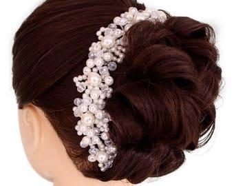 Bride rhinestone pearl hair piece, Bride hair accessory, clear crystal wedding head piece, wedding hair comb, crystal hair comb, Art Deco We
