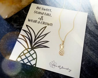 Dainty Pineapple charm necklace, Stay Sweet, cute tiny pineapple layering necklace, Inspirational meaningful sentimental message card