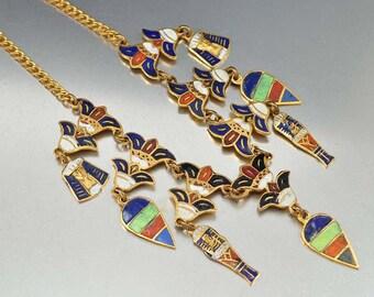 Vintage Egyptian Art Deco Necklace, Charm Necklace, Enamel Lotus Flower, Pharaoh Mummy Bib Necklace Vintage 1920s Art Deco Antique Jewelry