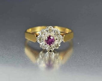Pink Sapphire Diamond Halo Ring | Gold Sapphire Engagement Ring | Edwardian Vintage Halo Engagement Ring | Pink Sapphire Ring | Diamond Ring