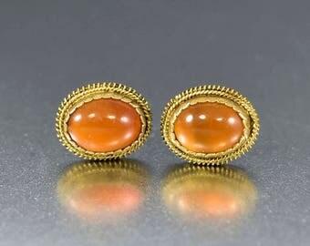 Vintage Carnelian Stud Earrings   Carnelian Earrings   Sterling Silver Gold Vermeil Studs   Vintage Dainty Pierced Chalcedony Earrings