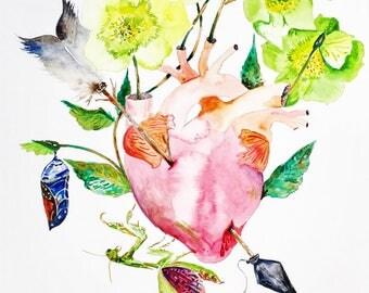 "Watercolor Anatomical Heart, Original Art, Gritty Art, Heart Painting 11""x17"""