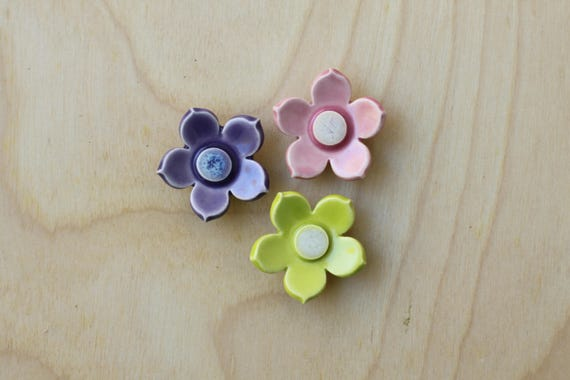set of 3 flower magnets pink, purple and lime