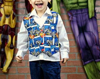 Batman Birthday Party - Boys Back to School - Little Boys Superhero Vest - sizes 12 months to 8 years - Toddler Clothes - Baby - Blue