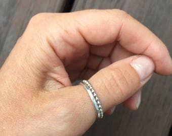 Set of rings, Dot Sterling Silver Stacking, simple hummered sterling silver ring, silver dotted ring, 2 stacking rings, slim dot ring, bead
