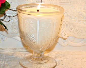 Pressed Glass Sundae Cup Soy Wax Candle,YOUR SCENT CHOICE,Homemade,Hand Poured,Gift Candle,Depression Glass,House WarmingGift,Hostess Gift