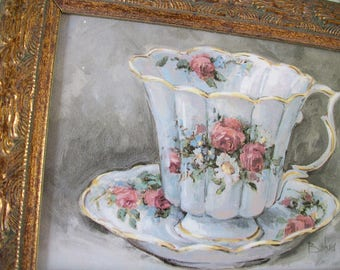 Framed Teacup Picture Print with Pink Rose Flowers Design on a White Teacup, Barbara Mock Art, Tea Party Decor, Tea Things