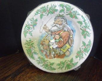 """8 """" Vintage Haut Papier Salad / Desert Plates Santa Father Time Christmas Paper  Plates"""