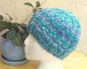 Handspun Knit Cable Beanie. Blues and Lavenders Variegated Knit Hat. Merino Wool Hat. Light Blue. Lavender. Medium Green, Light Medium Blue.