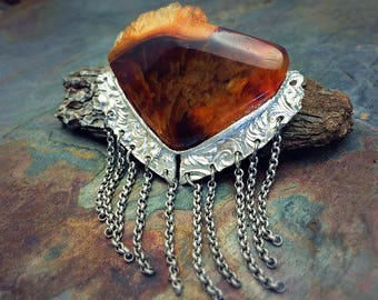 Silver PMC and Agate Artisan Pendant - Ready to Ship