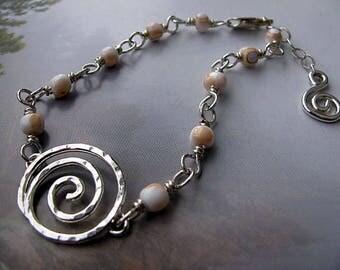 Sterling Silver Bracelet, Hammered Sterling Silver Spiral, Beaded Chain Bracelet, Shell Bead Bracelet