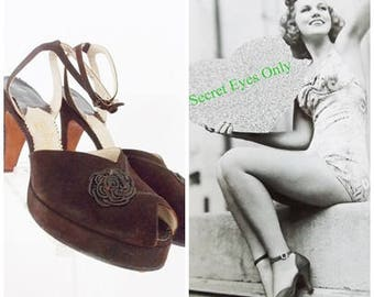 SPECIAL OFFER-handmade 1940s brown suede leather platform shoes/ 40s peep toe pumps heels / slingback pumps size 7