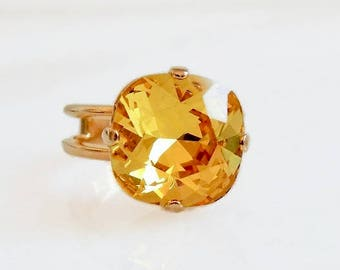 Citrine yellow crystal ring - topaz ring - Swarovski crystal ring - square cut ring