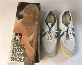 Vintage Converse Tennis Shoes - Women's NOS Chris Evert in Box - 8 1/2